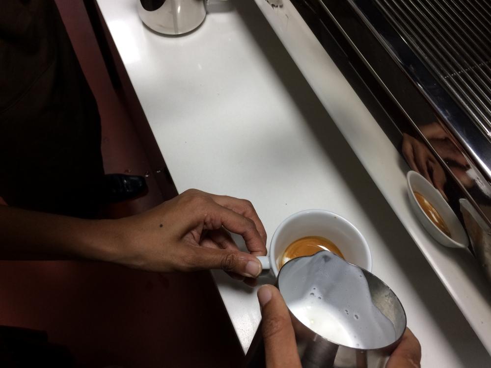 Step 4: Mix espresso and milk